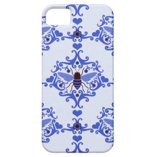 Bee bumblebee blue damask wallpaper pattern case iPhone 5 case 512x512