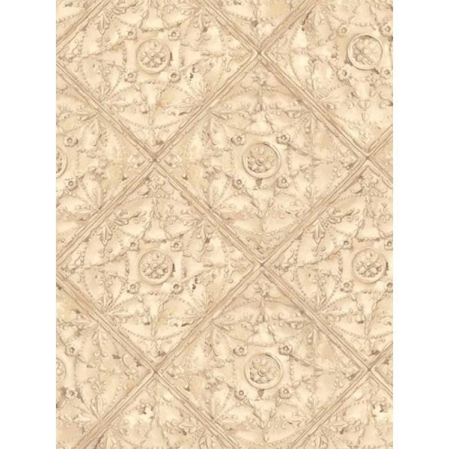 Beige Detailed Faux Ceiling Tile Wallpaper   All 4 Walls Wallpaper 650x650