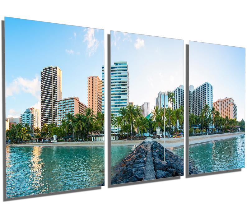 Metal Prints Waikiki Hawaii Skyline 3 Panel split Etsy 794x682