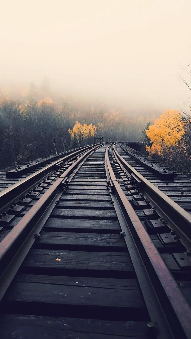 Train Tracks In Fog iPhone 5 Wallpaper iPod Wallpaper HD 640x1136