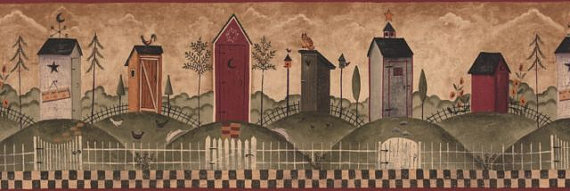 Outhouses Wallpaper Border country outhouse rustic by Borders2u 570x191