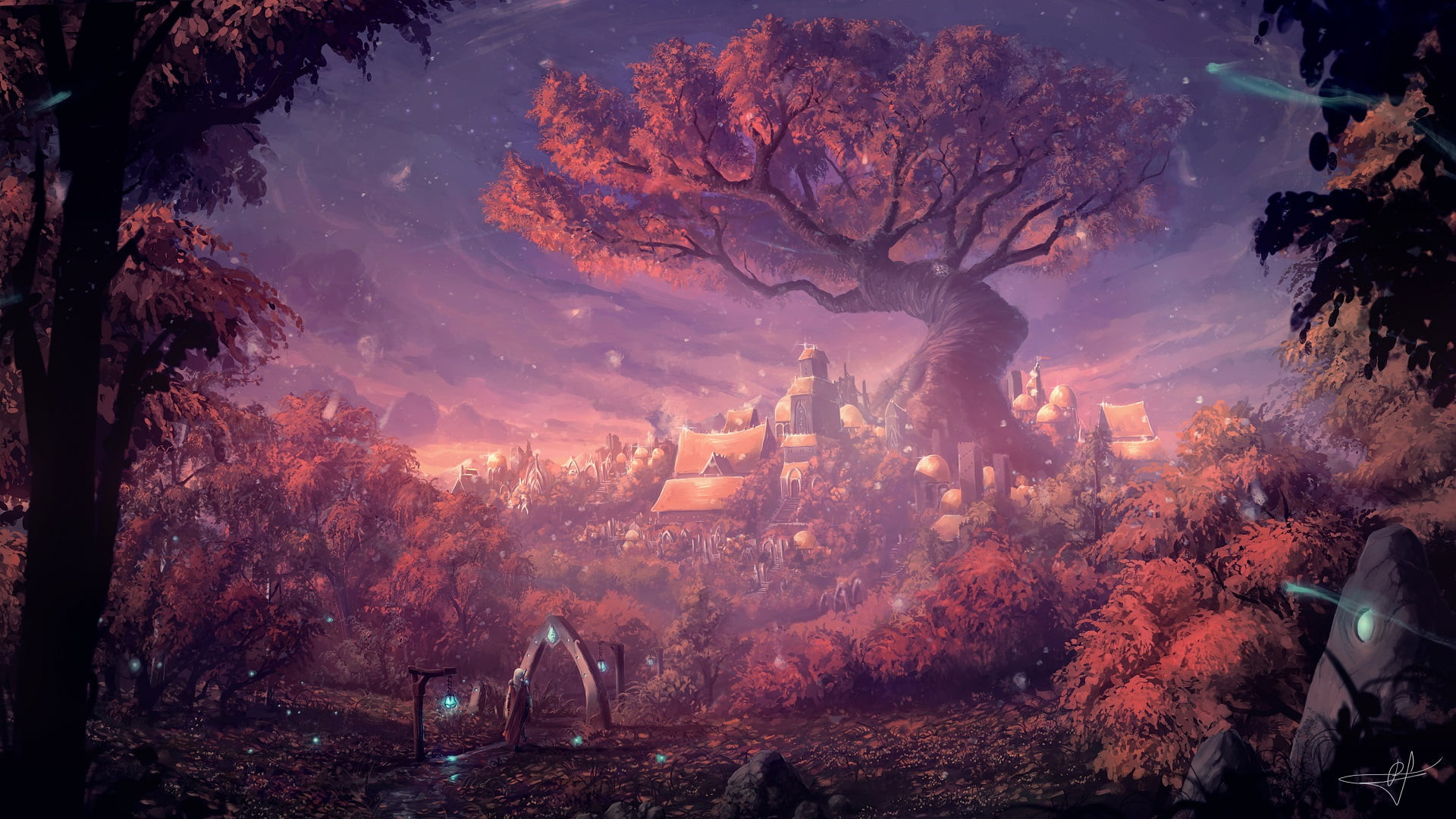 Painting of tree in center of rural town HD wallpaper Wallpaper 1920x1080