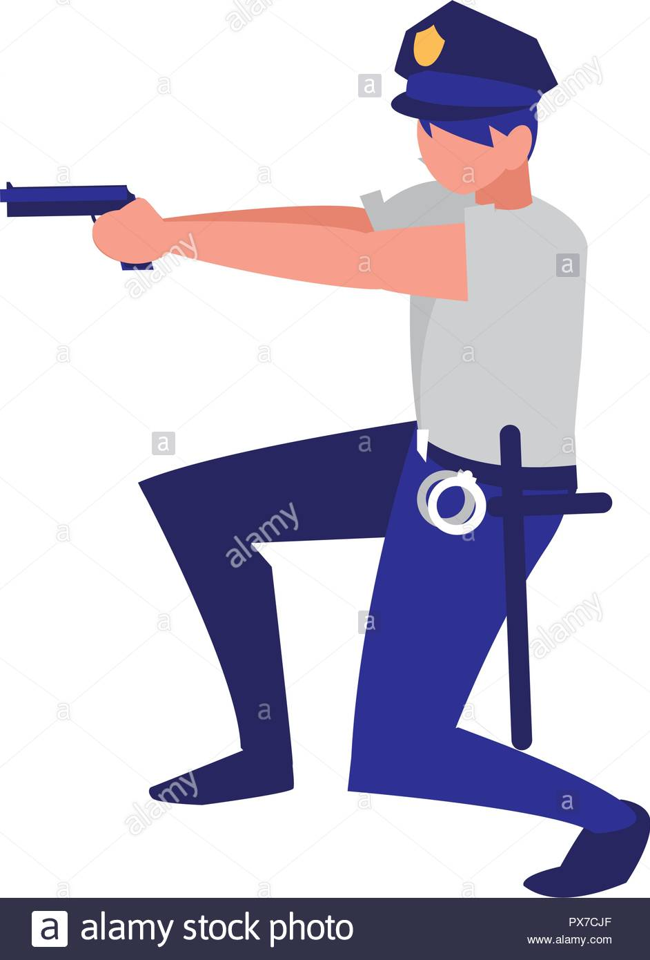 policeman with a gun over white background vector illustration 942x1390