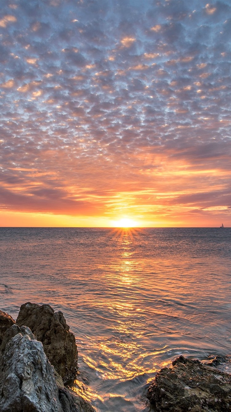 France New Caledonia sea rocks sunset clouds 750x1334 iPhone 750x1334