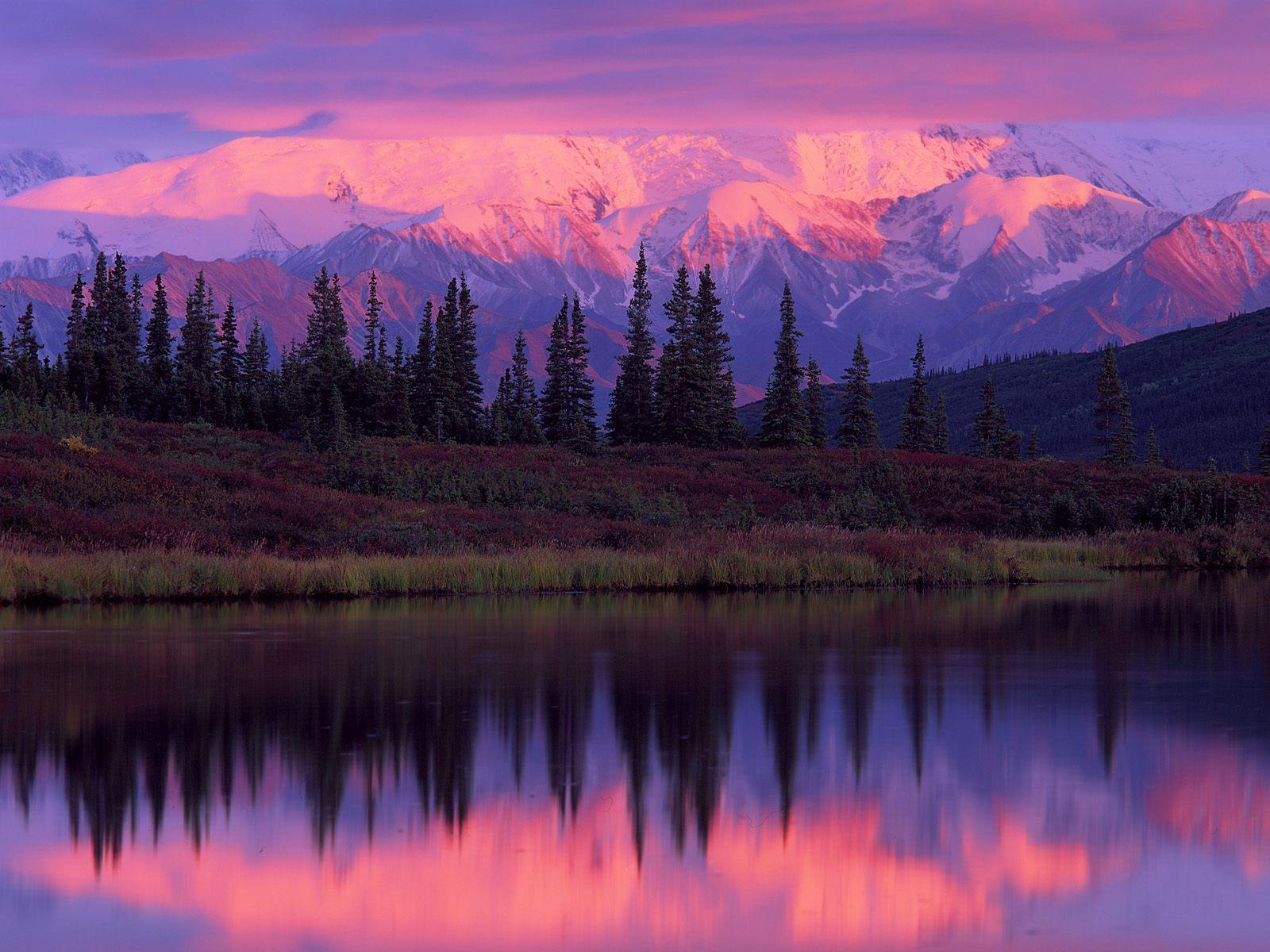 landscapes wonder lake alaska range sunset denali national park alaska 1600x1200
