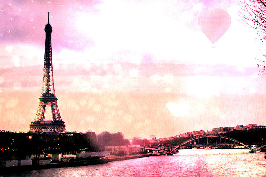 Paris Surreal Eiffel Tower Pink Yellow Abstract by Kathy Fornal 900x600