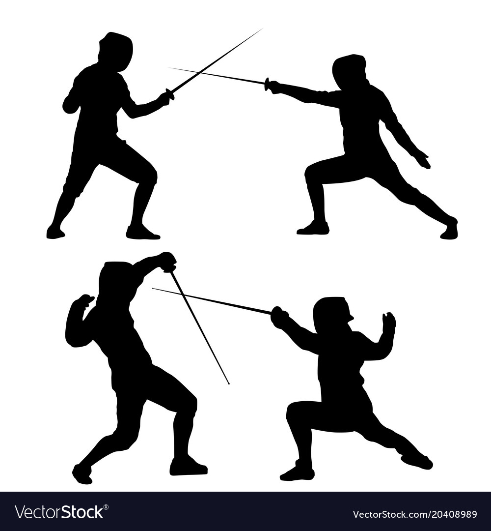 Black silhouette of fencing on a white background Vector Image 1000x1080