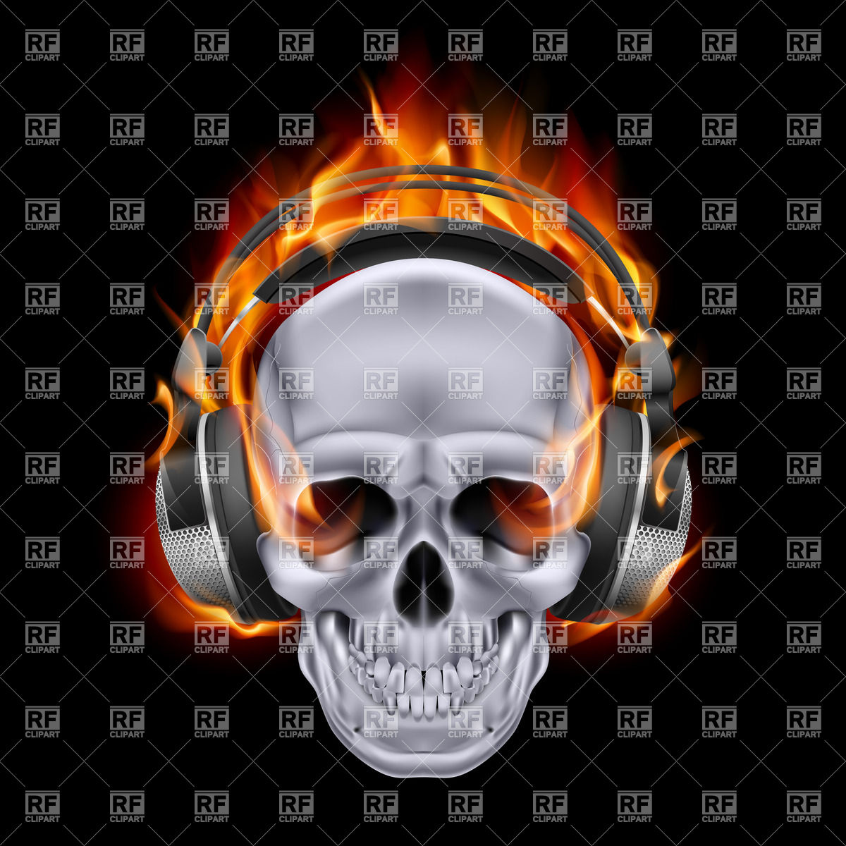 Flaming skull in headphones on black background vector 1200x1200