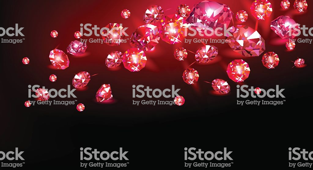Red Rubies Scattered On A Black Background Vector Illustration 1024x557
