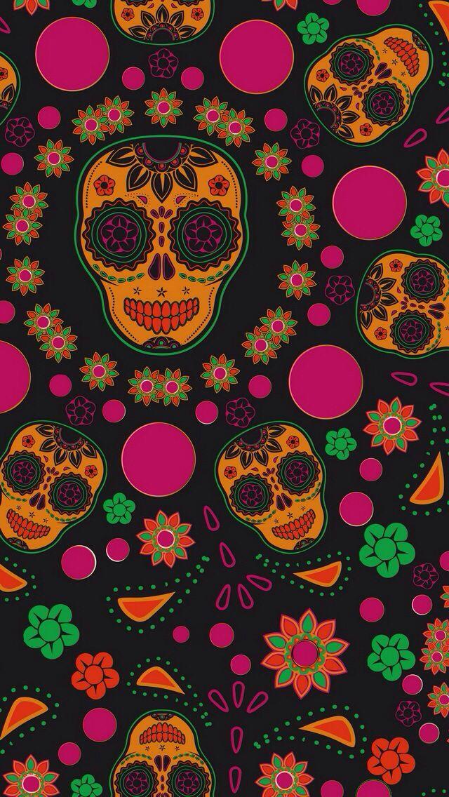 GIRLY SKULL IPHONE WALLPAPER BACKGROUND Sugar Skull Wallpapers 640x1136