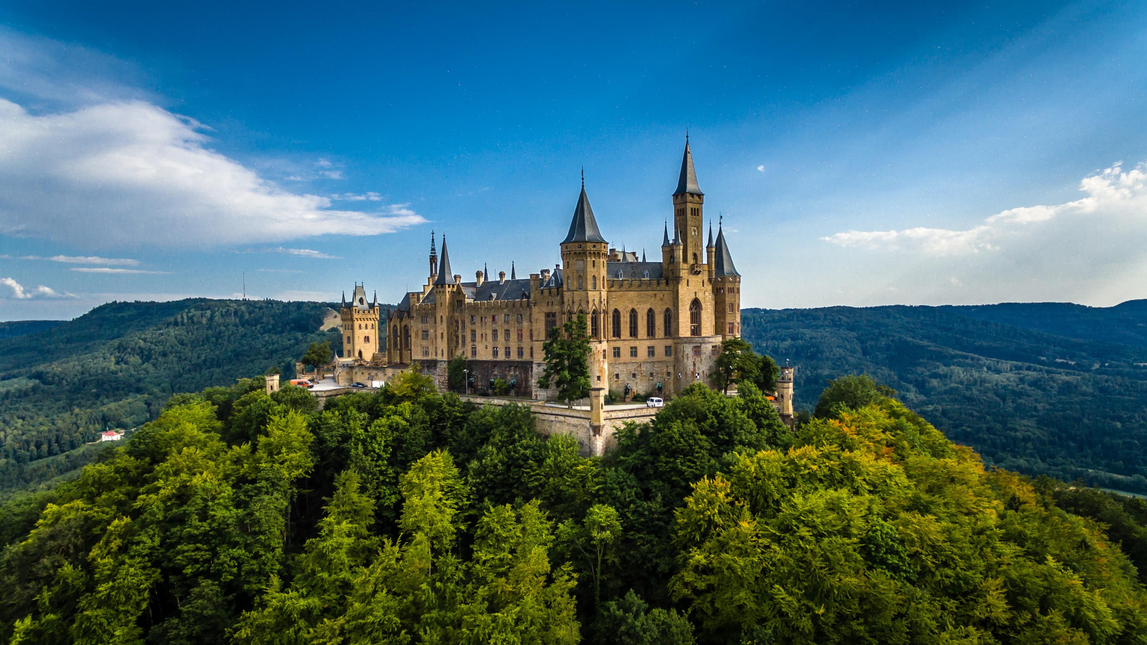 Wallpaper Hohenzollern Castle Germany Europe forest sky 4k 3840x2160