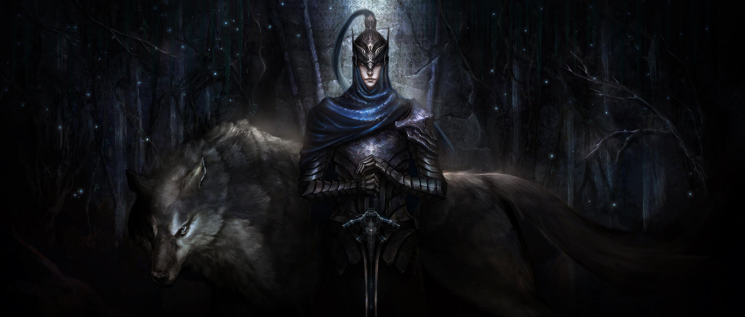 Knight Artorias with wolf standing in the dark hd wallpaper 2533x1080