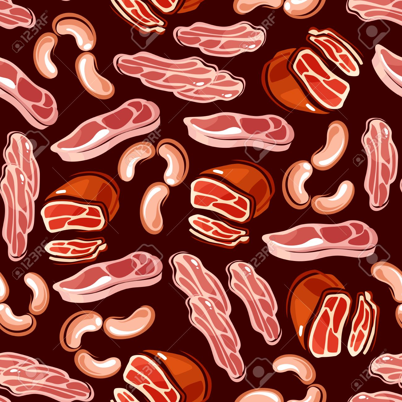 Sausages And Bacon Slices Seamless Background Wallpaper With 1300x1300