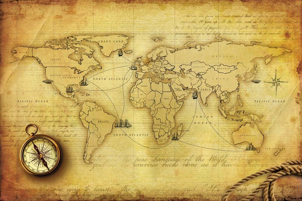 World Map Wall Decor Vintage World Map Of Voyages Of Christopher 1000x667