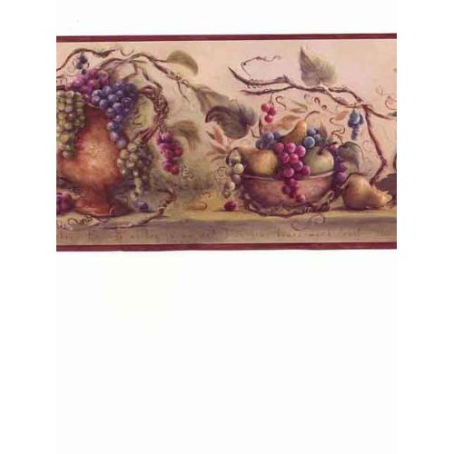 Burgundy Vineyard Blessing Wallpaper Border Home Kitchen 500x500