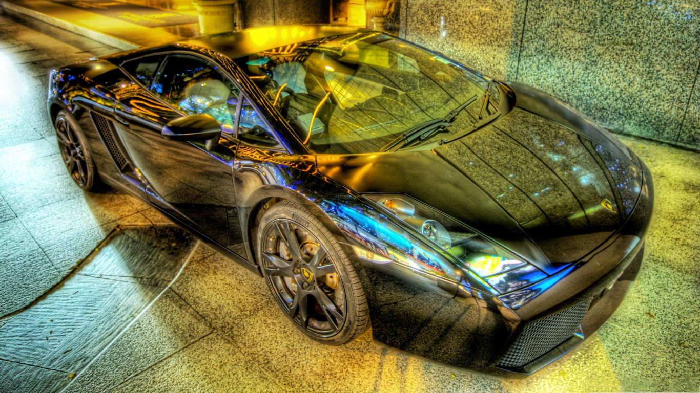 lamborghini gallardo hdr wallpaper 1366x768 1366x768