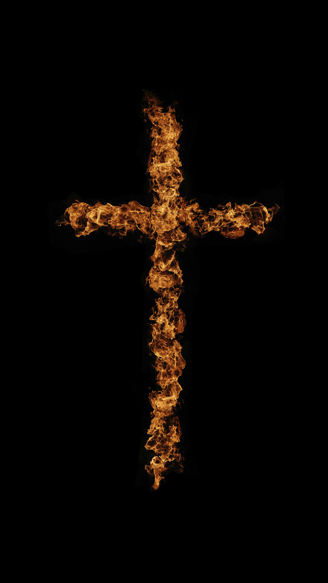 iPhone 5 wallpapers HD   Flame art cross Backgrounds 640x1136
