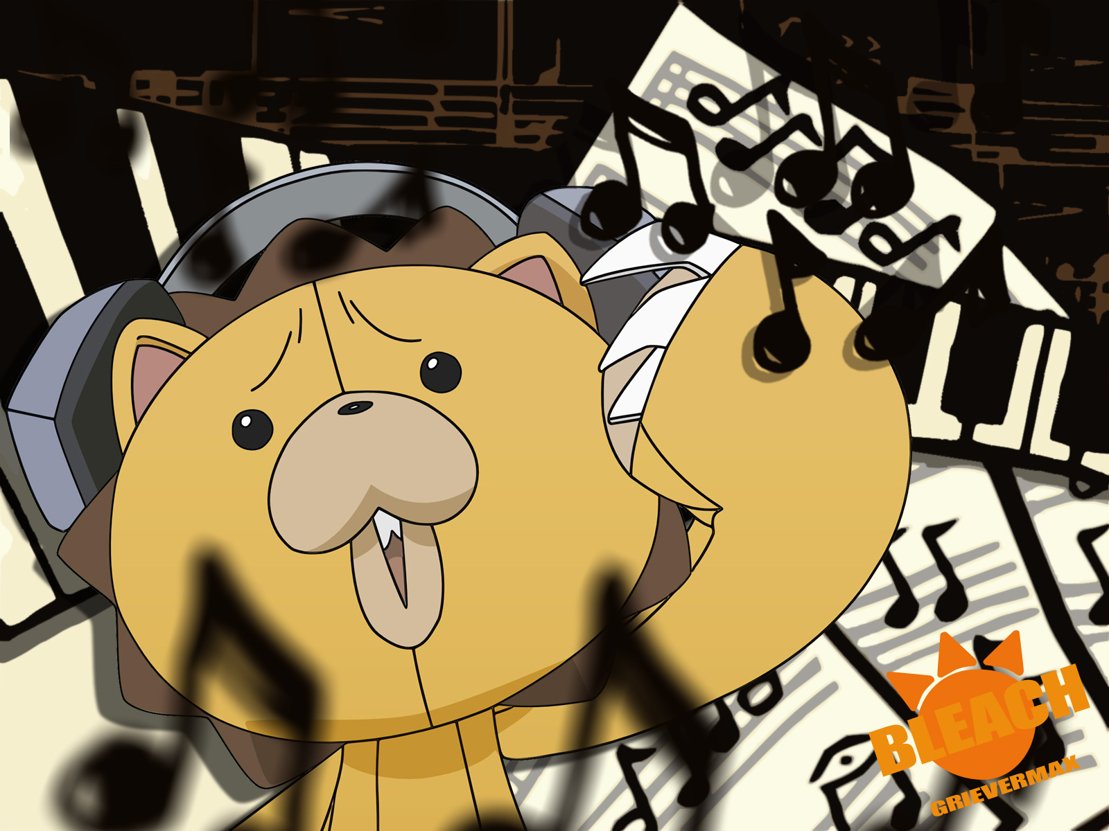Kon With Headphones On In a Music Notes in the Background   Bleach 1600x1200