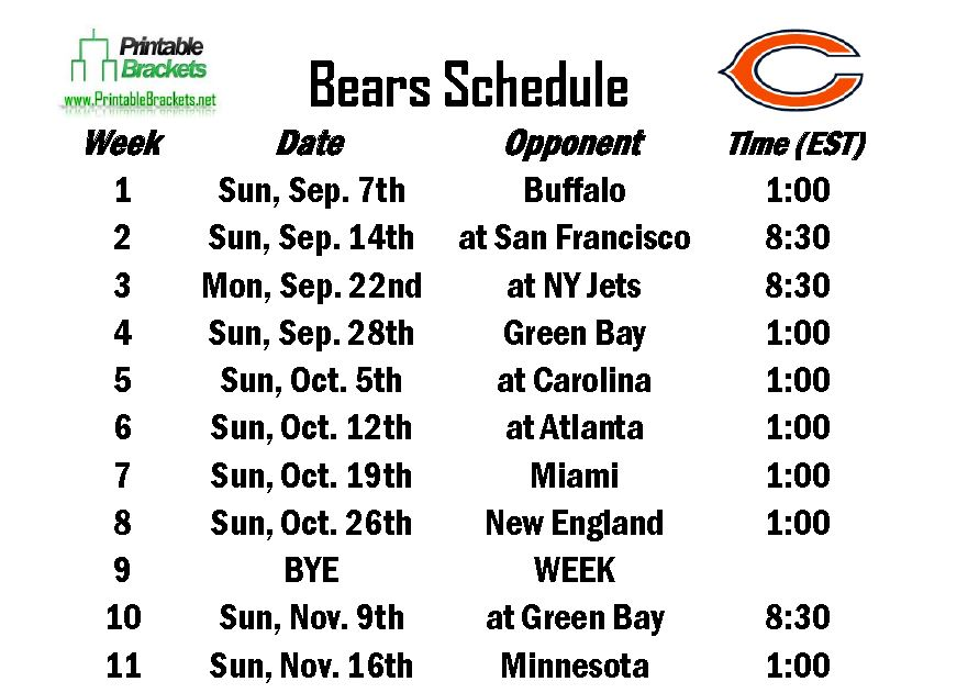 image about Chicago Bears Schedule Printable referred to as 49+] Chicago Bears Program 2015 Wallpaper upon WallpaperSafari