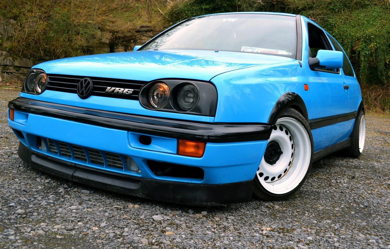 Wallpaper volkswagen golf blue tuning germany low r32 1332x850