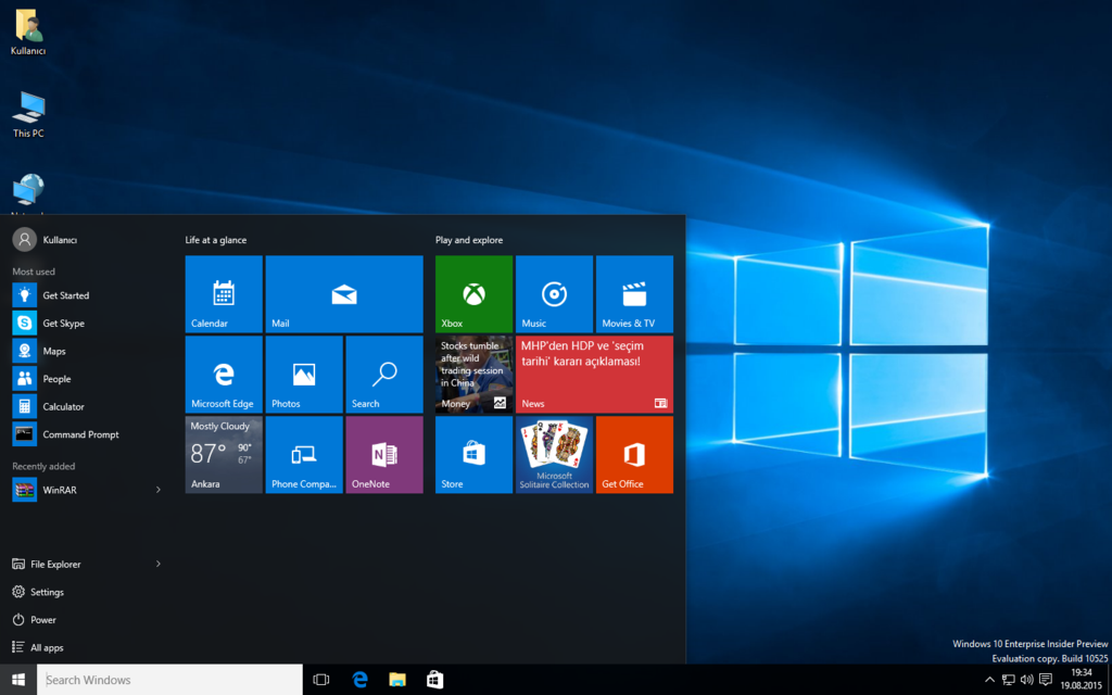 Windows 10 Redstone Insider Preview Build 10525 by furkooo85 on 1024x640