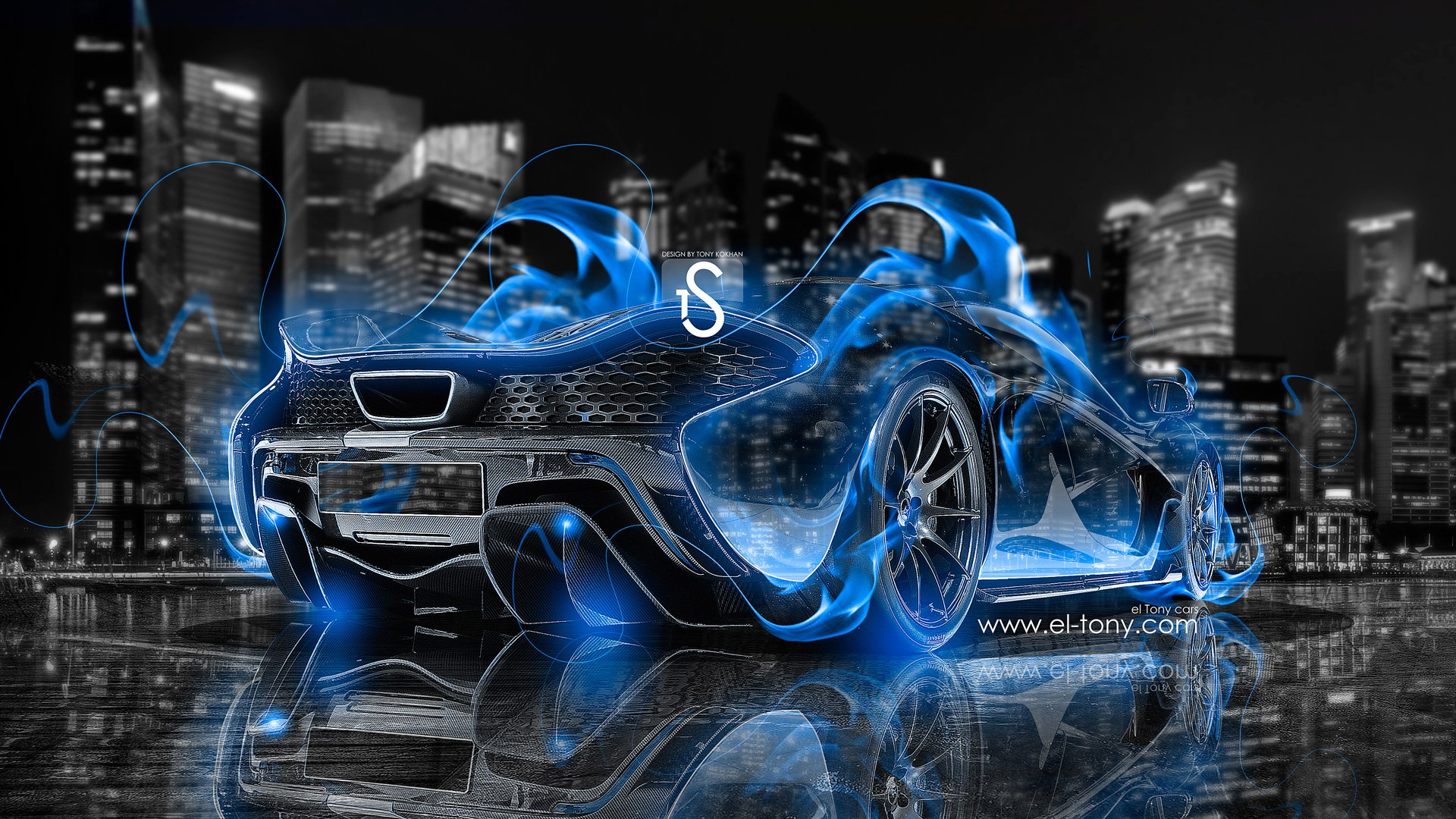 McLaren P1 Blue Fire City Car 2013 Crystal HD Wallpapers by Tony 1920x1080