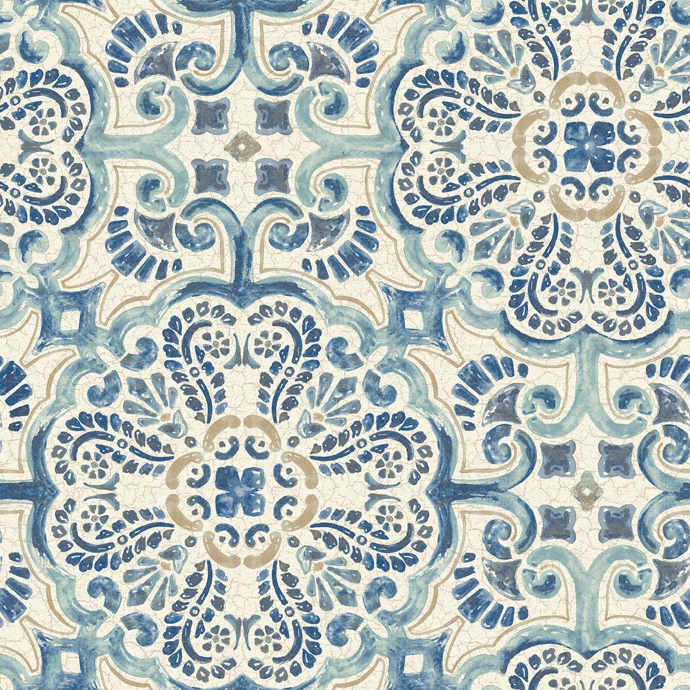 NuWallpaper Blue Florentine Tile Peel and Stick Wallpaper Sample 1000x1000