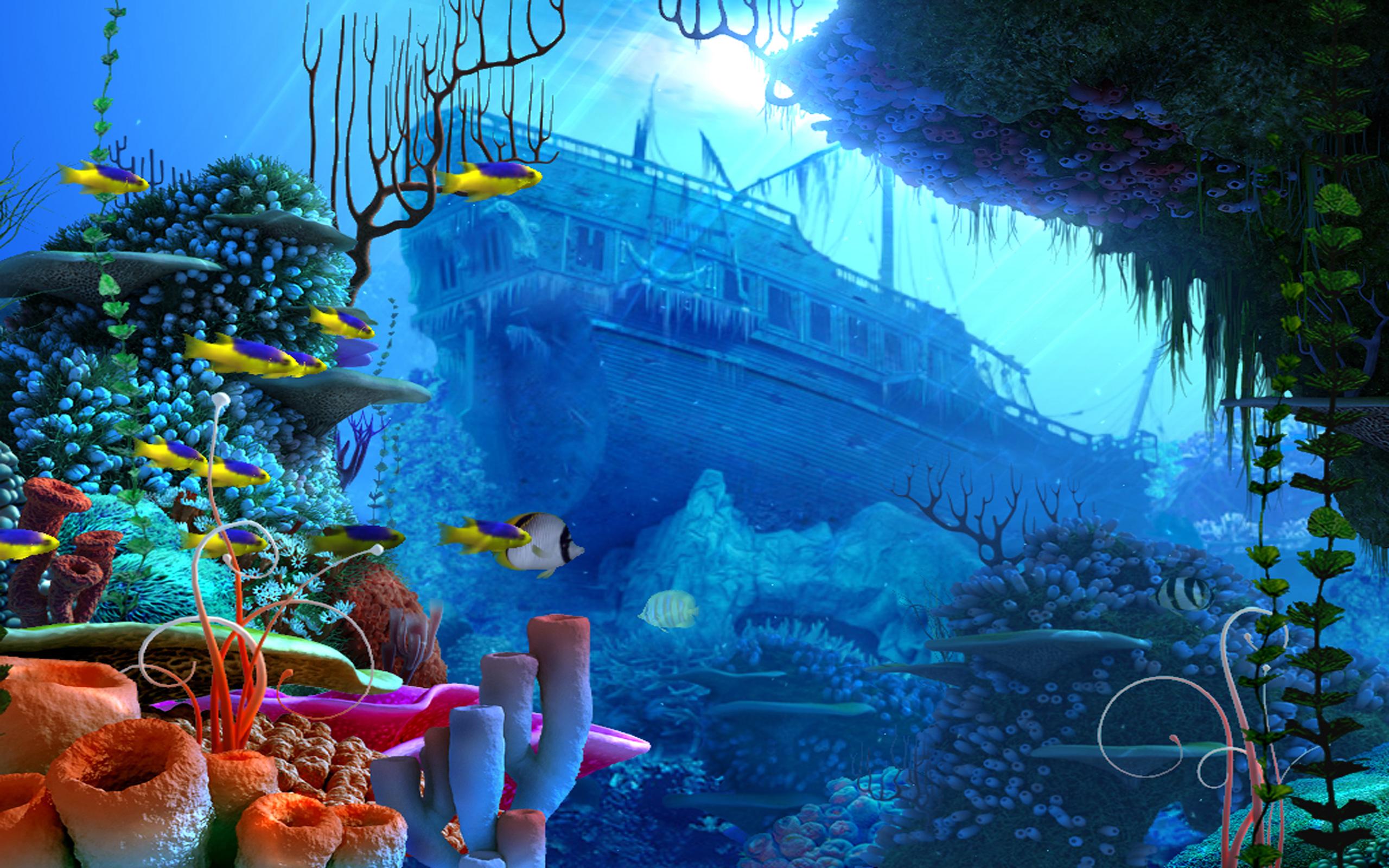 pirates pirate fantasy ship fish ocean underwater wallpaper background 2560x1600