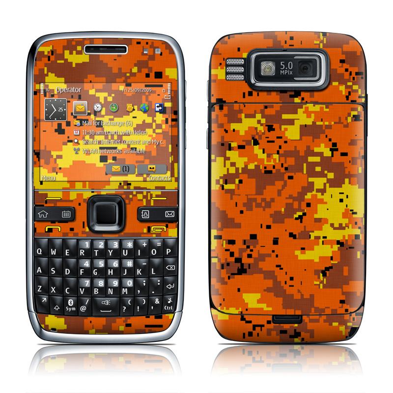 Nokia E72 Skin   Digital Orange Camo by Camo DecalGirl 800x800