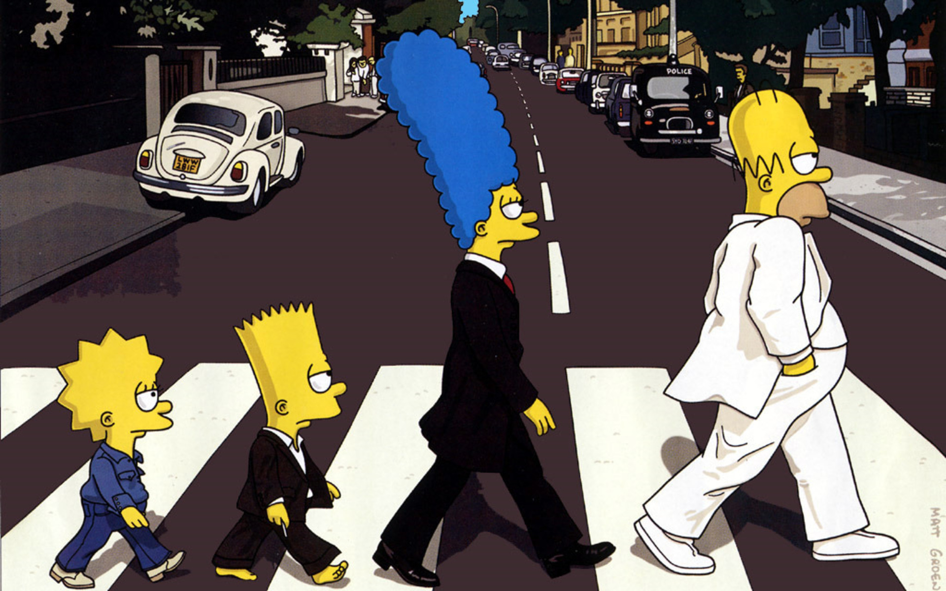 Abbey Road The Simpsons Beatles Wallpaper Background 1920x1200