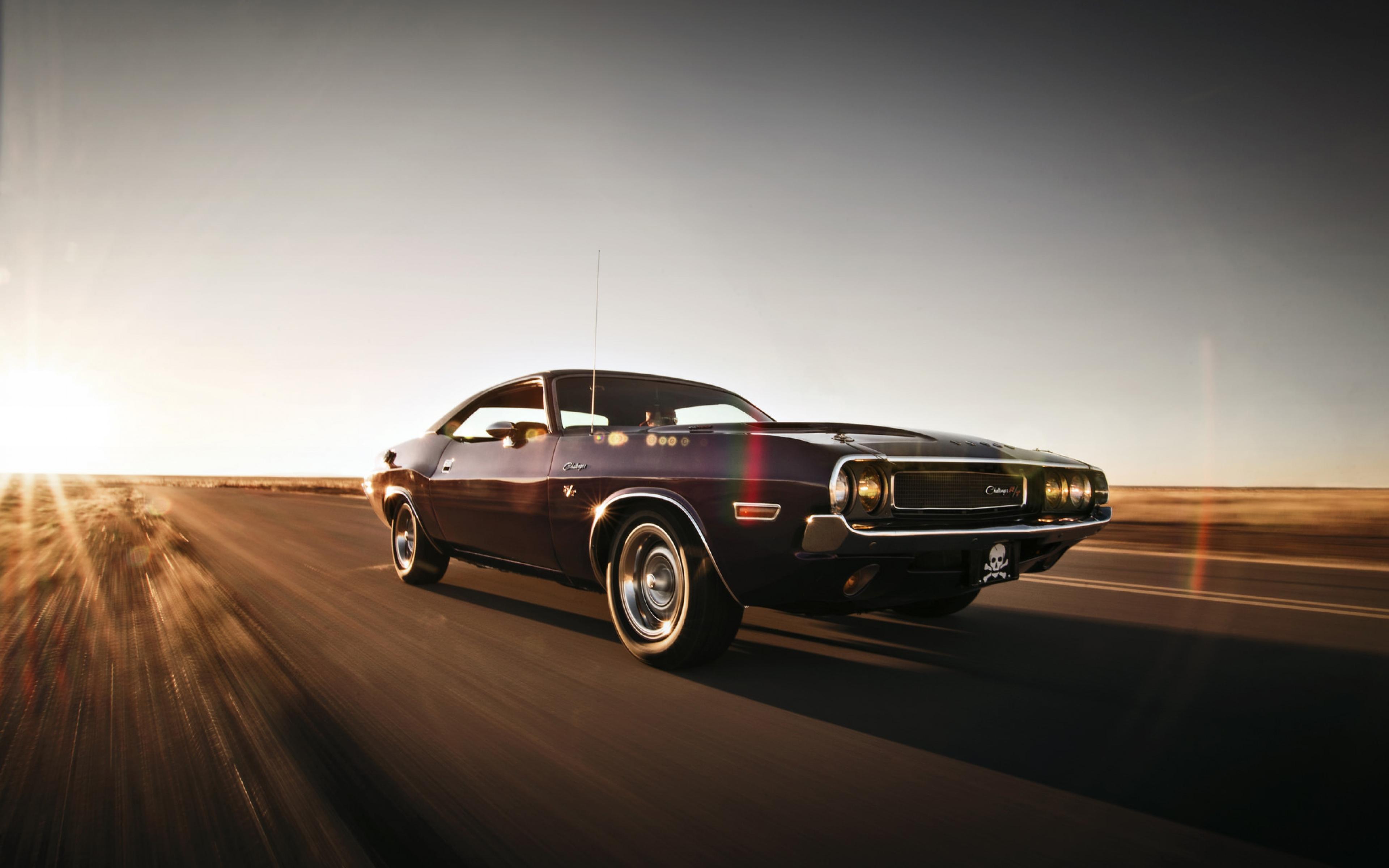 Dodge Challenger In Desert Speed Car HD Wallpaper 3840x2400