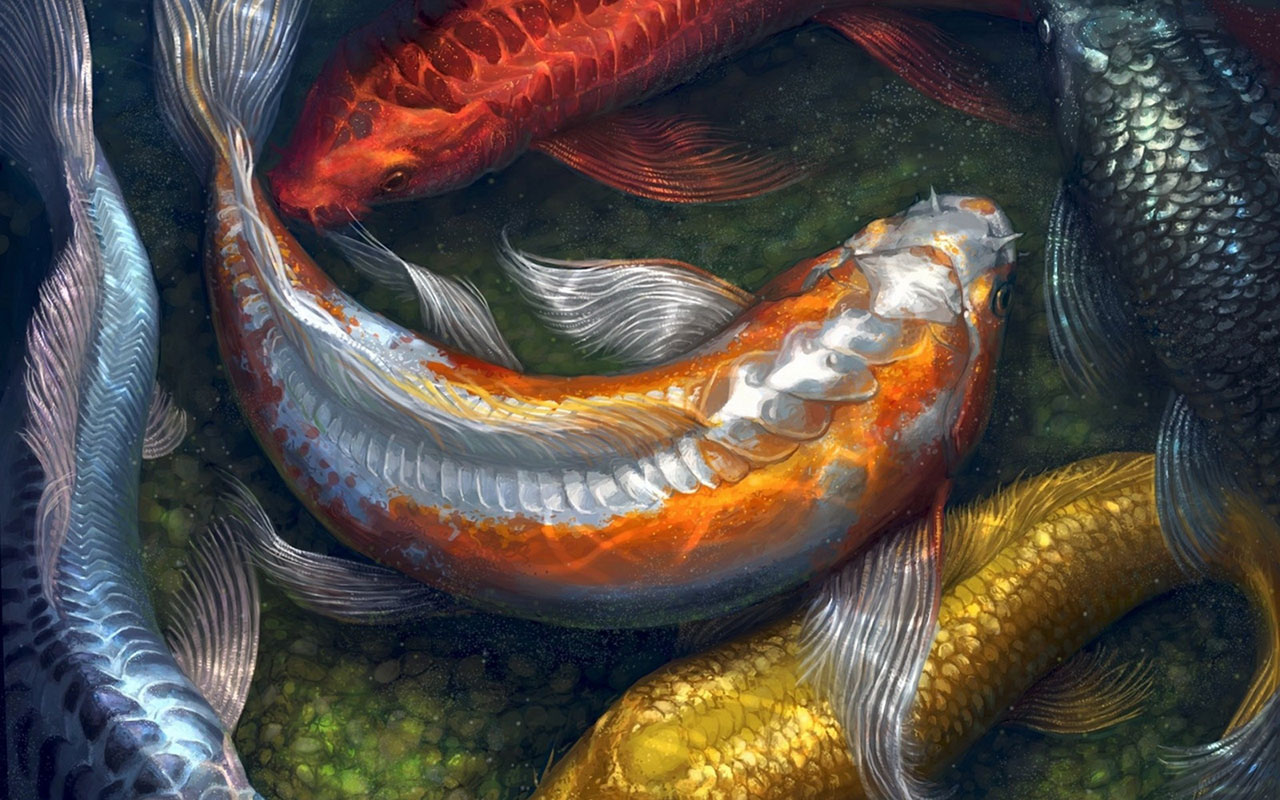 Koi Fish Water Painting Live Wallpaper For Windows Xp 1280x800
