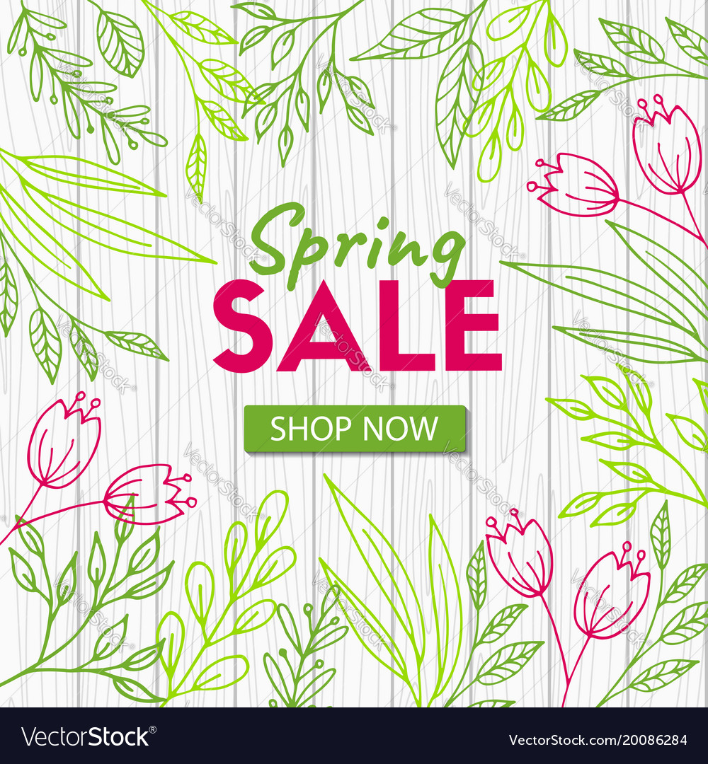 Spring sale discount template on wood background Vector Image 1000x1080