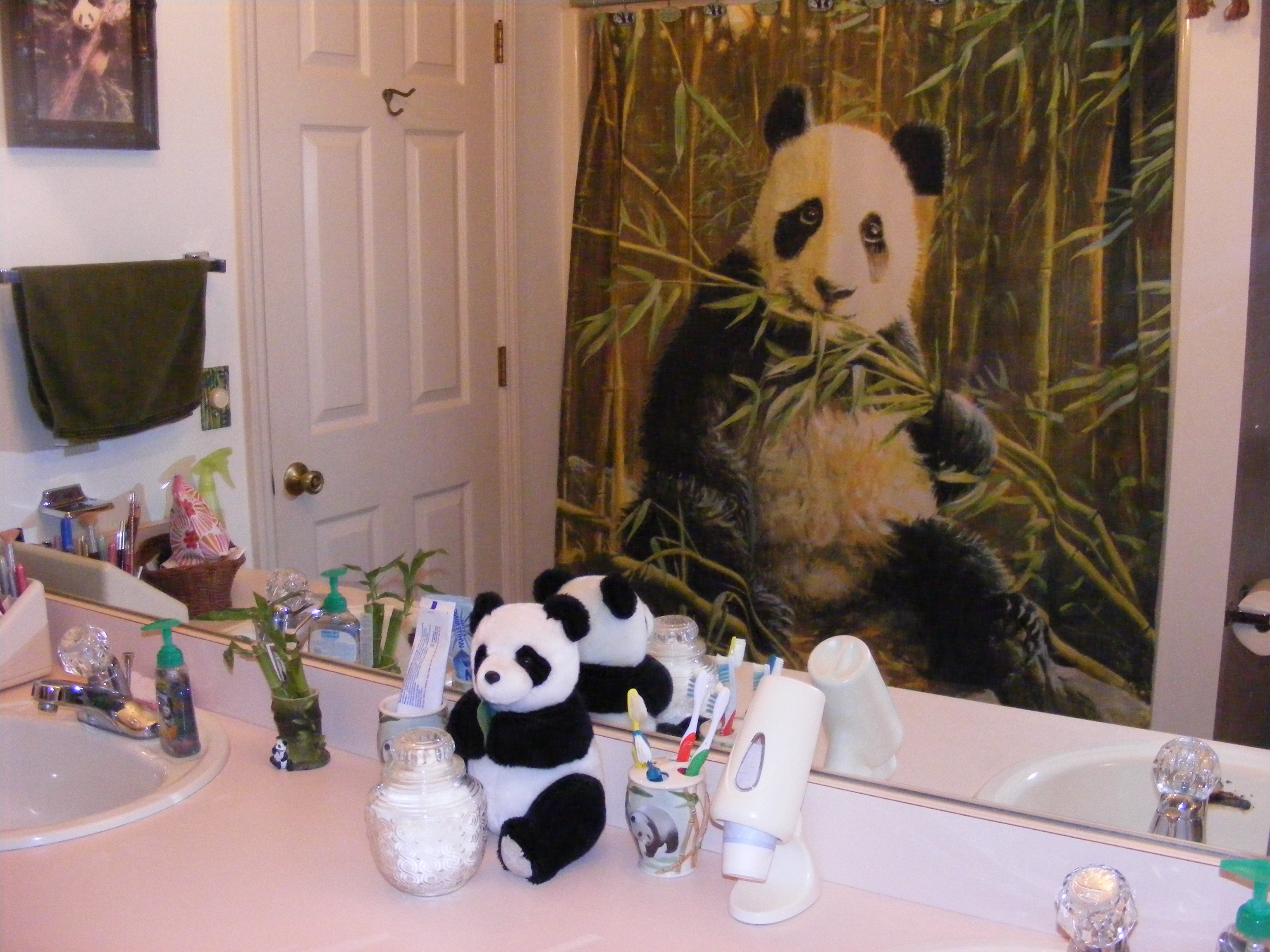 panda bathroom shower curtain reflected in mirror 3072x2304