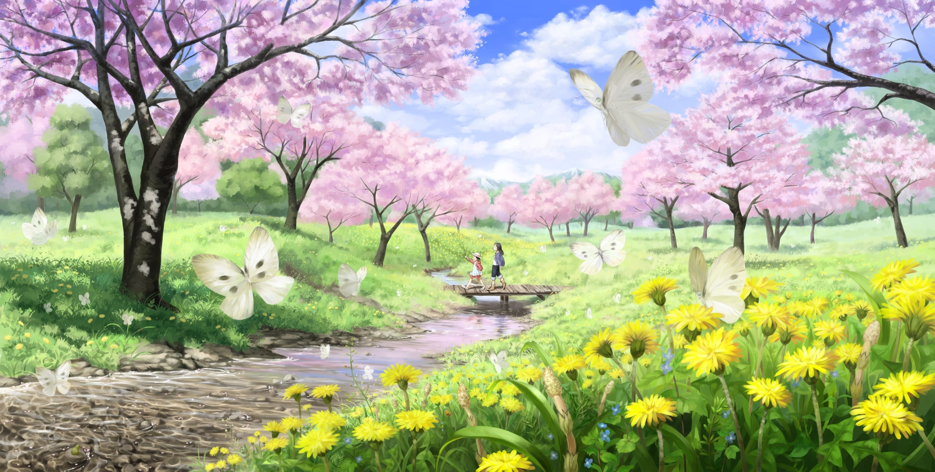 girls butterfly cherry blossoms clouds flowers grass hat imaoka 3200x1617
