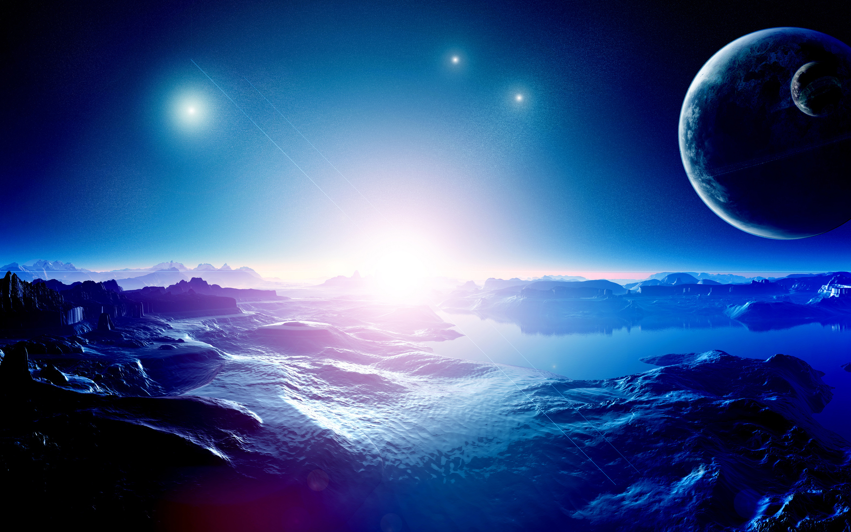 Space Planets Blue Mountains HD Wallpaper 2880x1800