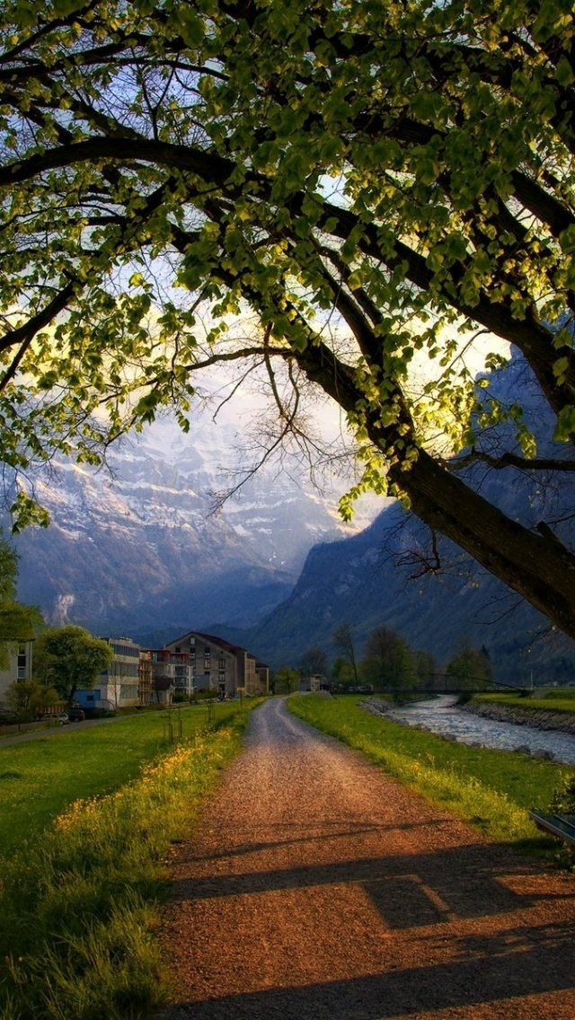 640x1136 Trees Path Houses Scenic Swiss Iphone 5 wallpaper 640x1136