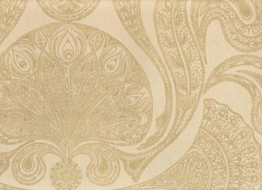 Malabar Wallpaper Gold on beige Indian paisley design wallpaper 534x388