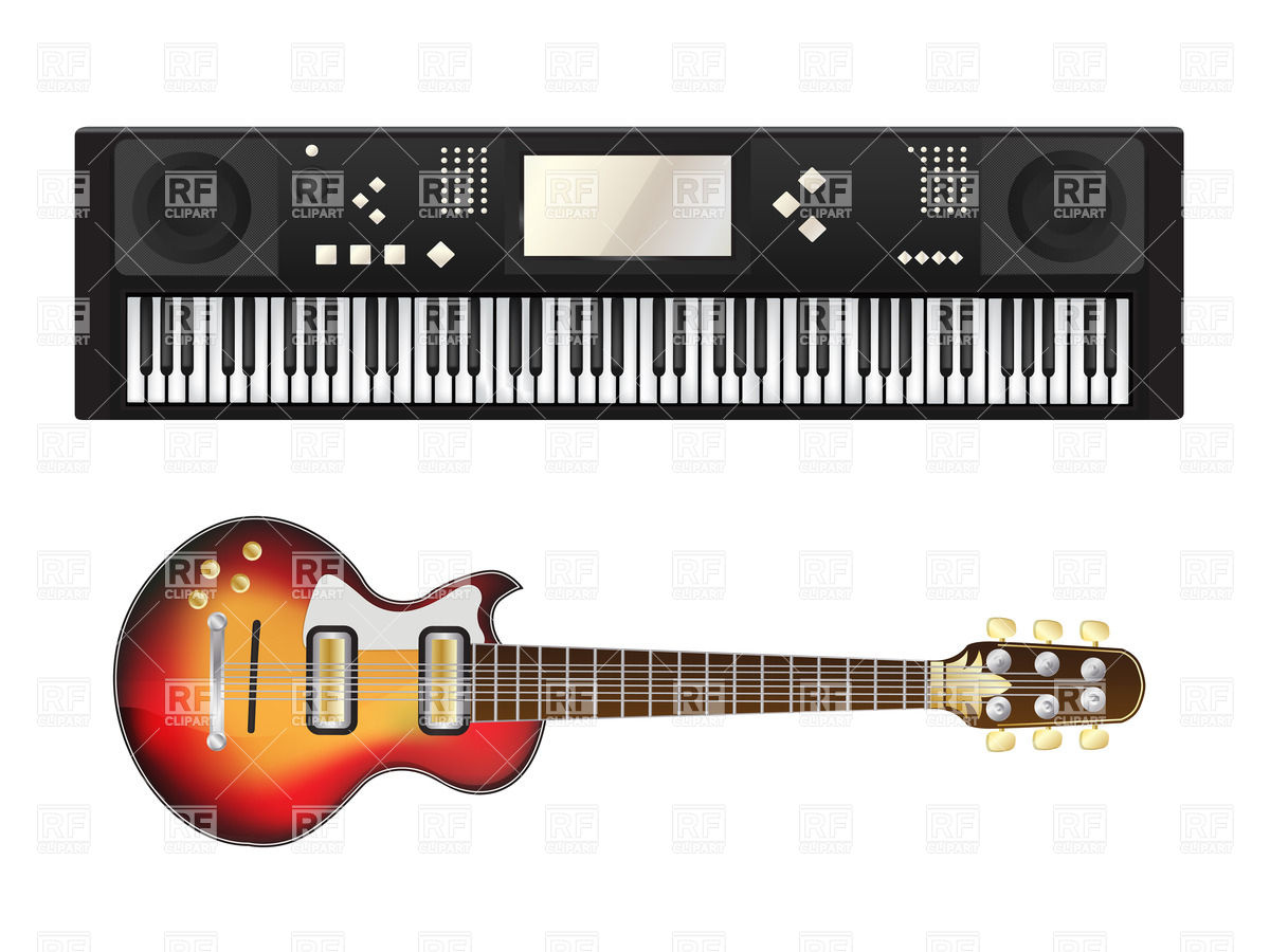 Electric guitar and synthesizer over white background Vector Image 1200x900