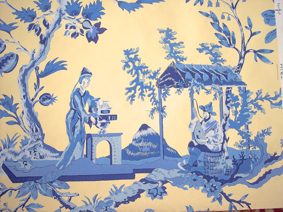 New Offer CHINOISERIE  Scalamandre Wallpaper Hand Printed cobalt 570x428