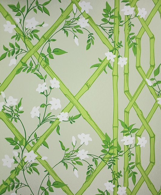 Jasmine Lattice Wallpaper A decorative wallpaper featuring a floral 534x647