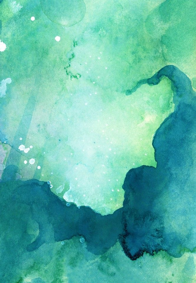 Abstract painted original cold green watercolor background texture 664x960
