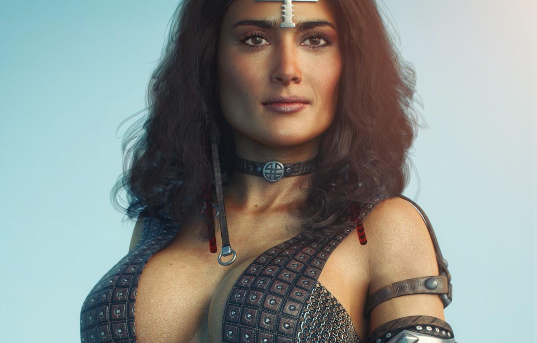 Wallpaper chest girl rendering beauty Tits Salma Hayek images 1332x850