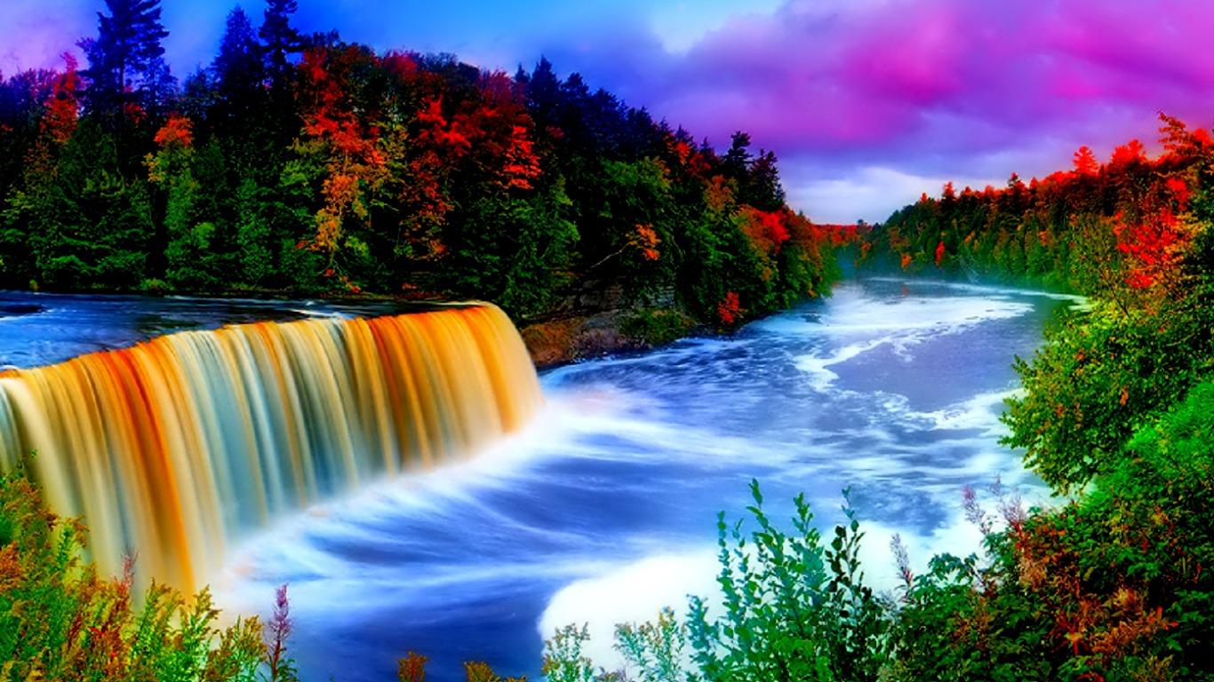 Rainbow Waterfall Computer Wallpapers Desktop Backgrounds 1366x768 1366x768