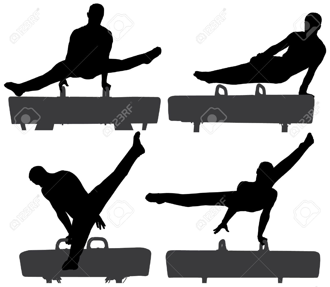 Gymnast On Pommel Horse Silhouette On White Background Royalty 1300x1129