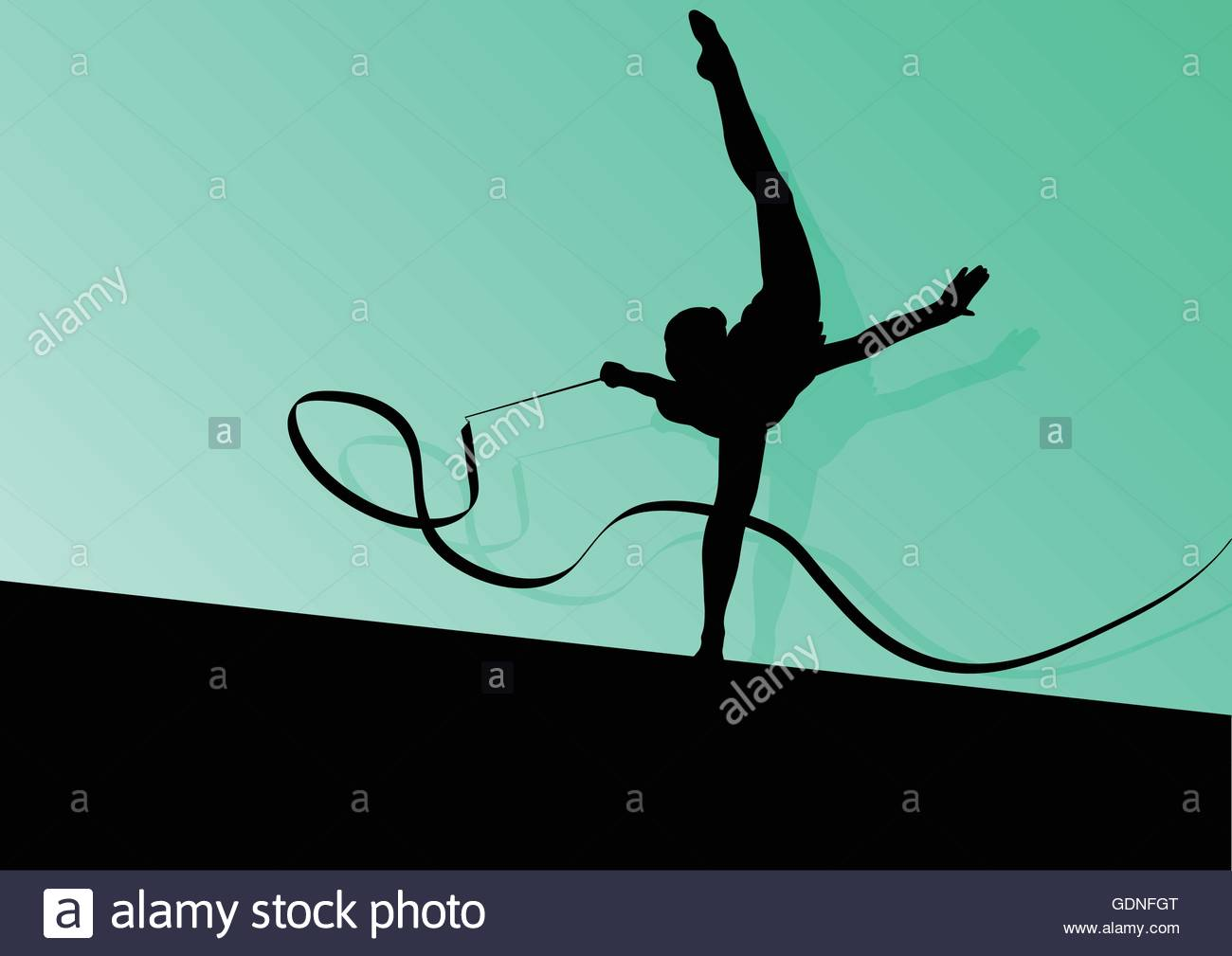 Active young girl calisthenics sport gymnast silhouette in 1300x1009