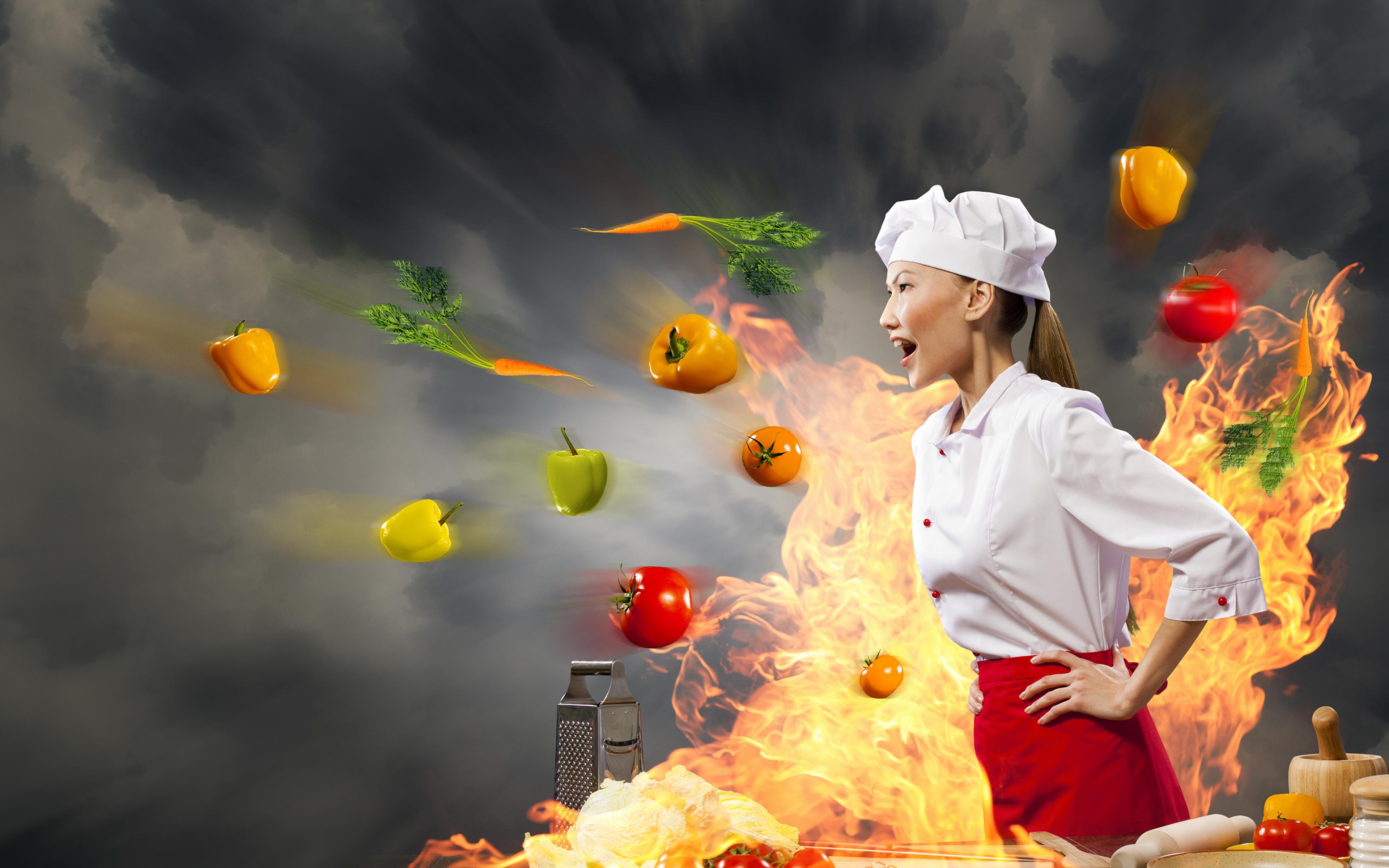 Desktop Wallpapers Girls flame Asiatic Creative Food Cook 3840x2400 3840x2400