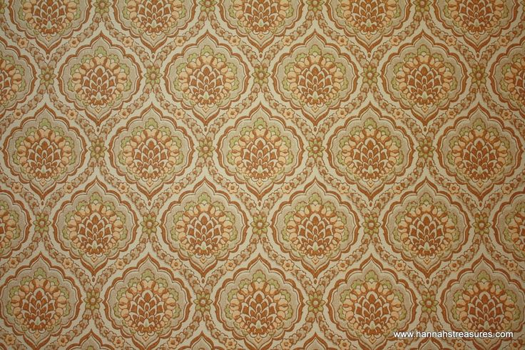 1960s Vintage Wallpaper Brown and Yellow Damask 736x490