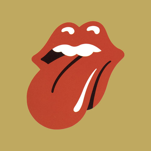 Original Rolling Stones Tongue and Gold Background logo artwork 500x500