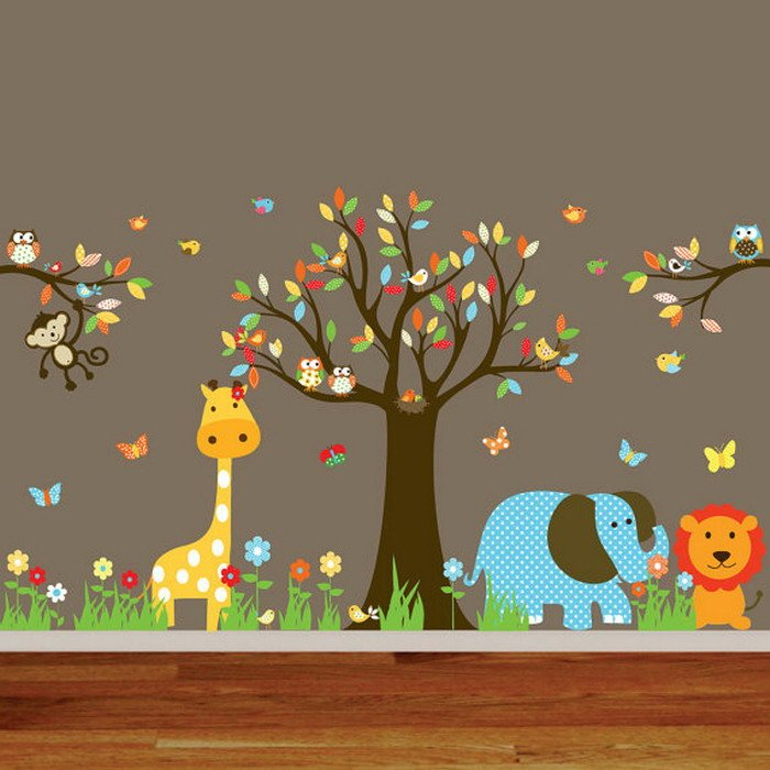 Animal wallpaper for nursery wallpapersafari for Animal wall mural